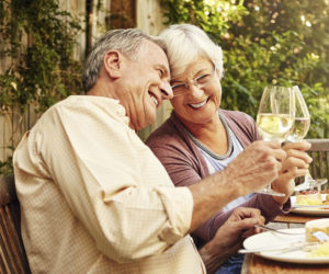 Retired couple enjoying lunch