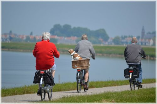Retirees on cycling holiday abroad